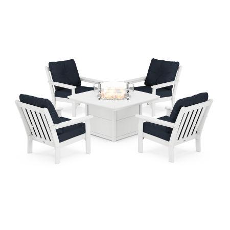 Vineyard 5-Piece Conversation Set with Fire Pit Table in White / Marine Indigo