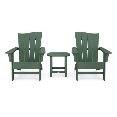 Wave 3-Piece Adirondack Chair Set in Green
