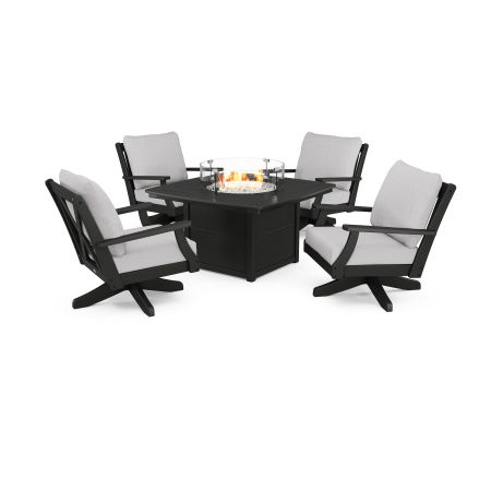 Braxton 5-Piece Deep Seating Swivel Conversation Set with Fire Pit Table in Black / Granite