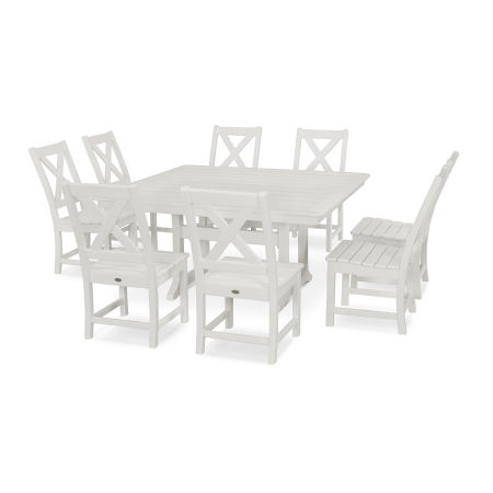 Braxton 9-Piece Nautical Trestle Dining Set in Vintage White