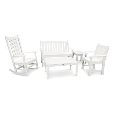 Vineyard 5-Piece Bench & Rocking Chair Set in White