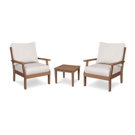 Braxton 3-Piece Deep Seating Set in Teak / Antique Beige