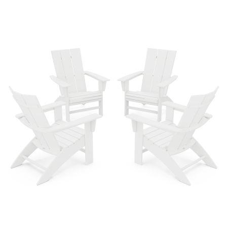 4-Piece Modern Curveback Adirondack Conversation Set in White