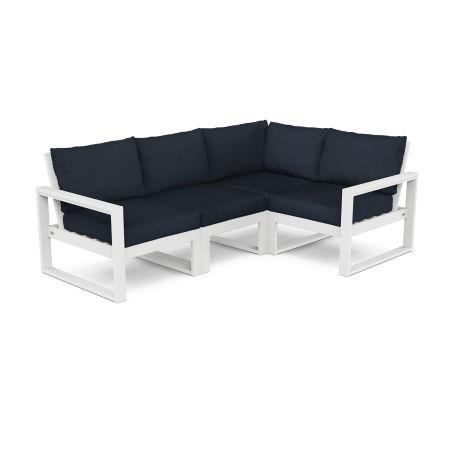 EDGE 4-Piece Modular Deep Seating Set in White / Marine Indigo
