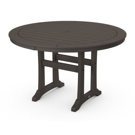 "Nautical Trestle 48"" Round Dining Table in Vintage Finish"