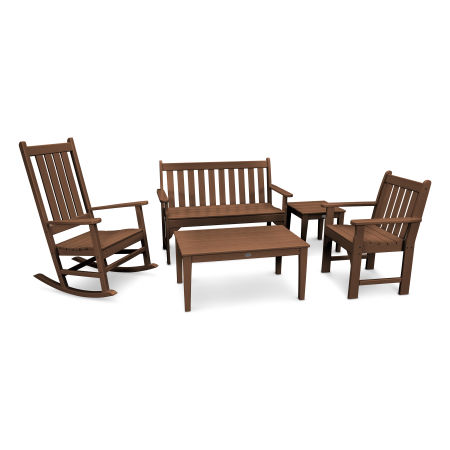 Vineyard 5-Piece Bench & Rocking Chair Set in Teak