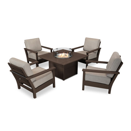 Harbour 5-Piece Conversation Set with Fire Pit Table in Mahogany / Cast Ash