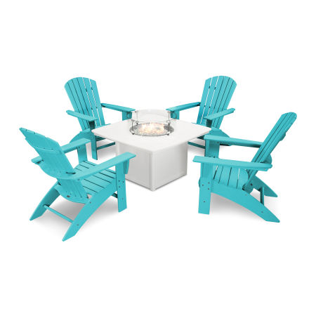 Nautical Curveback Adirondack 5-Piece Conversation Set with Fire Table in Aruba