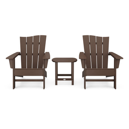 Wave 3-Piece Adirondack Chair Set in Mahogany