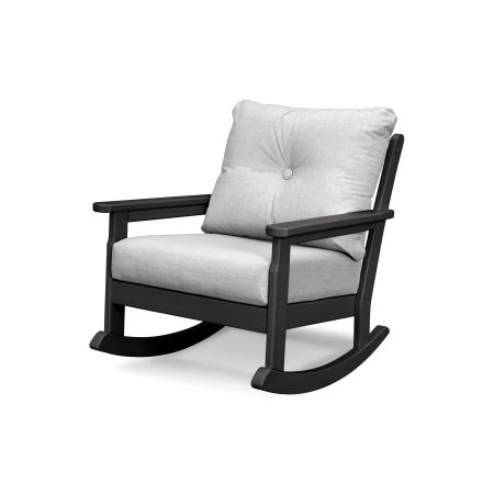 Vineyard Deep Seating Rocking Chair in Black / Canvas Granite
