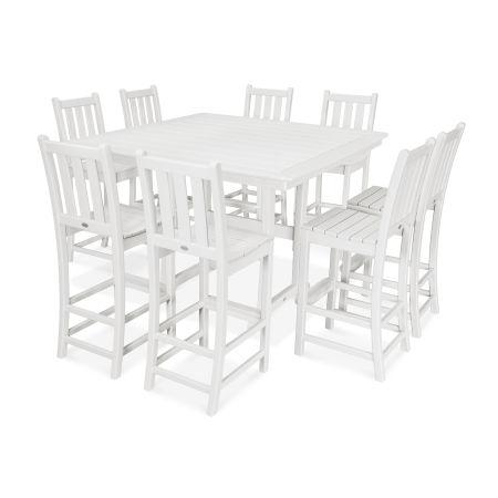 9-Piece Nautical Trestle Bar Set in White