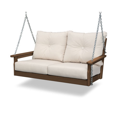 Vineyard Deep Seating Swing in Teak / Antique Beige