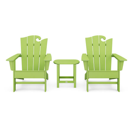 Wave 3-Piece Adirondack Set with The Ocean Chair in Lime