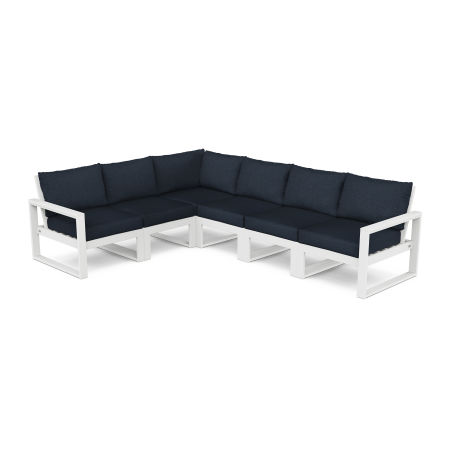 EDGE 6-Piece Modular Deep Seating Set in White / Marine Indigo