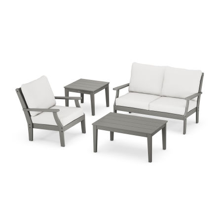 Braxton 4-Piece Deep Seating Set in Slate Grey / Natural Linen