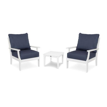 Braxton 3-Piece Deep Seating Set in White / Spectrum Indigo
