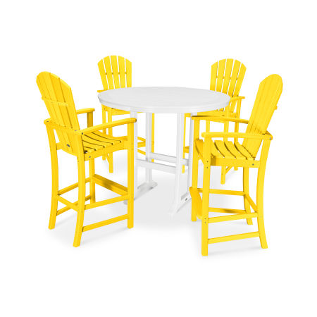 5 Piece Palm Coast Bar Set in Lemon / White