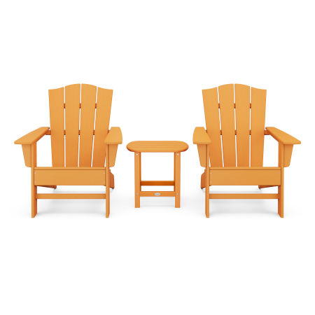 Wave 3-Piece Adirondack Chair Set with The Crest Chairs in Tangerine