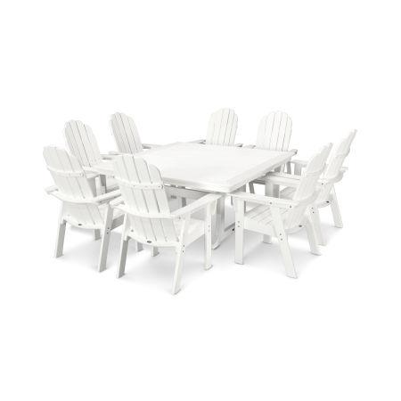 Vineyard Adirondack 9-Piece Nautical Trestle Dining Set in Vintage White