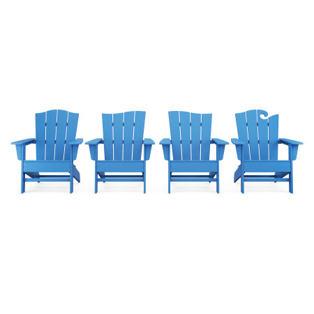 Wave Collection 4-Piece Adirondack Chair Set in Pacific Blue
