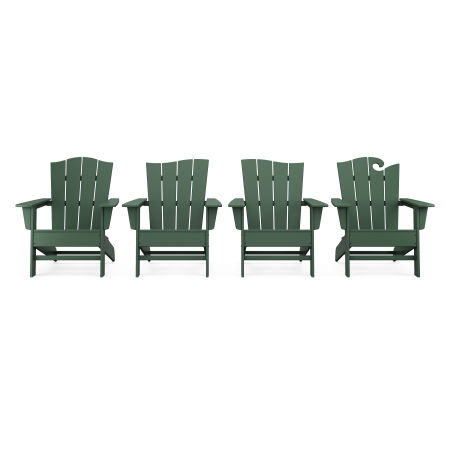 Wave Collection 4-Piece Adirondack Chair Set in Green