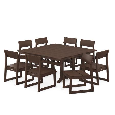EDGE 9-Piece Farmhouse Trestle Dining Set in Mahogany
