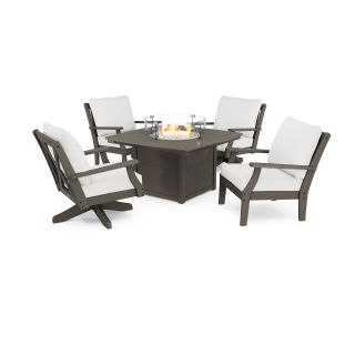 Braxton 5-Piece Deep Seating Set with Fire Table in Vintage Finish