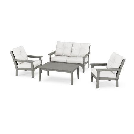 Vineyard 4-Piece Deep Seating Set in Slate Grey / Natural Linen