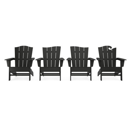 Wave Collection 4-Piece Adirondack Chair Set in Black