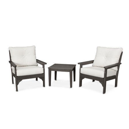 Vineyard 3-Piece Deep Seating Set in Vintage Finish