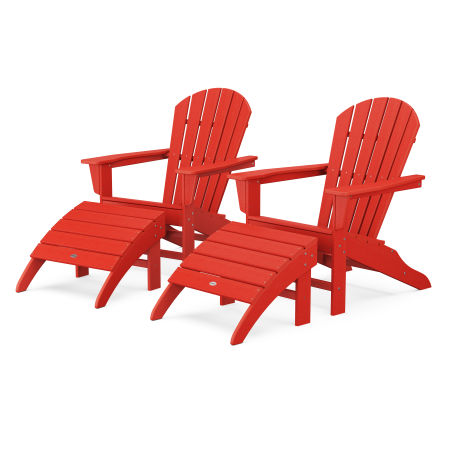 South Beach 4-Piece Adirondack Set in Sunset Red