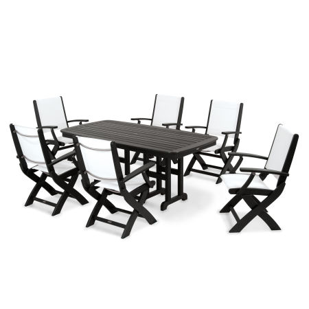 Coastal 7-Piece Dining Set in Black / White Sling