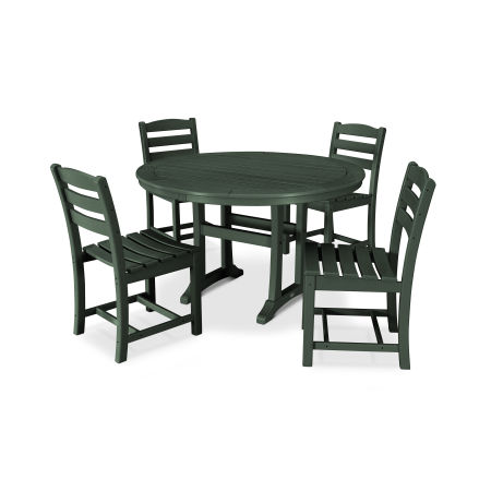 La Casa Café 5 Piece Side Chair Dining Set in Green