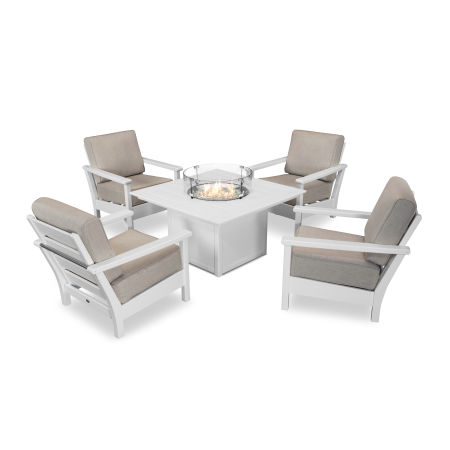 Harbour 5-Piece Conversation Set with Fire Pit Table in White / Cast Ash