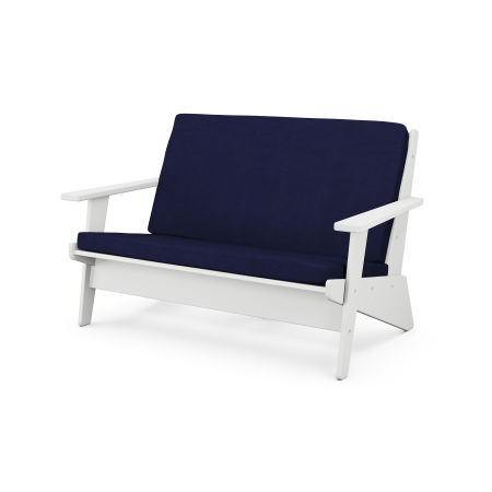 Riviera Modern Lounge Settee in White / Navy