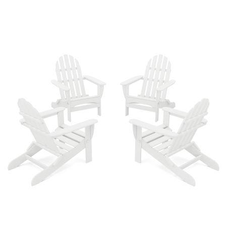 4-Piece Classic Folding Adirondack Conversation Set in White