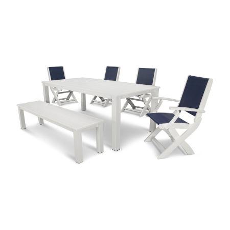 Coastal 6-Piece Harvest Bench Dining Set in Satin White / White / Navy Blue Sling
