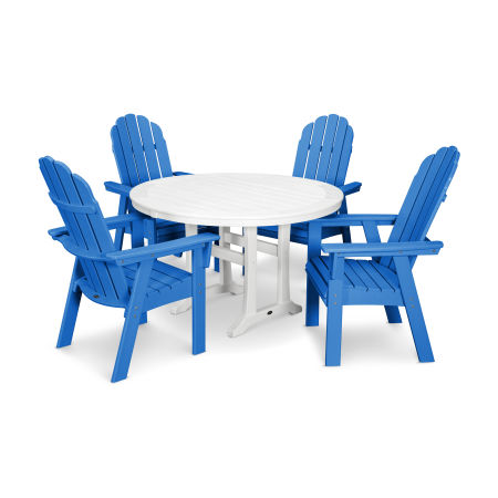 Vineyard Adirondack 5-Piece Nautical Trestle Dining Set in Pacific Blue / White
