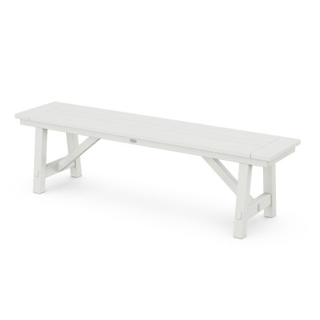"""Rustic Farmhouse 60"""" Backless Bench in Vintage White"""