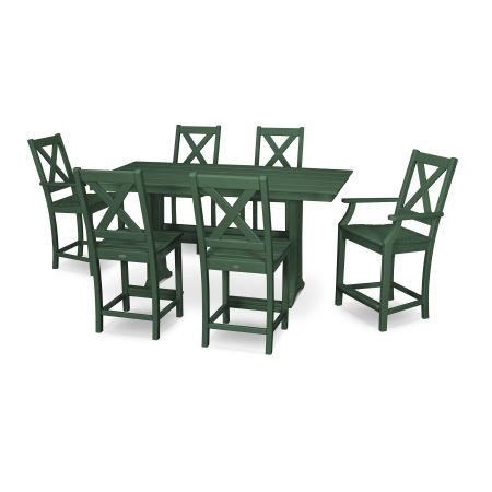 Braxton 7-Piece Farmhouse Counter Set in Green