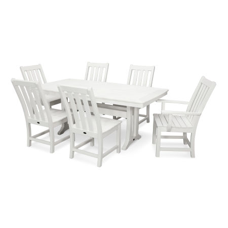 Vineyard 7-Piece Nautical Trestle Dining Set in White