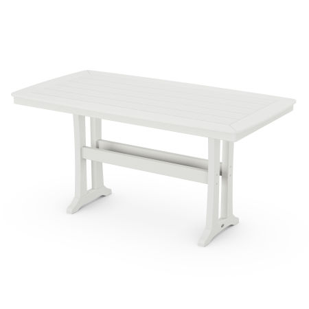 Nautical Trestle Counter Table in Vintage White