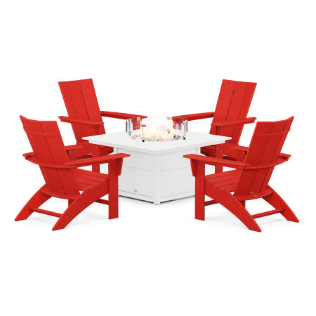 Modern Curveback Adirondack 5-Piece Conversation Set with Fire Pit Table in Sunset Red