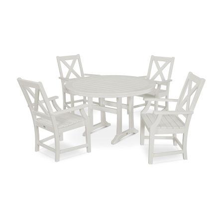 Braxton 5-Piece Nautical Trestle Arm Chair Dining Set in Vintage White