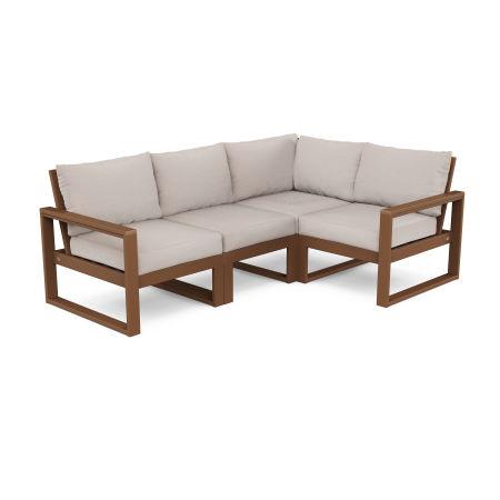 EDGE 4-Piece Modular Deep Seating Set in Teak / Dune Burlap