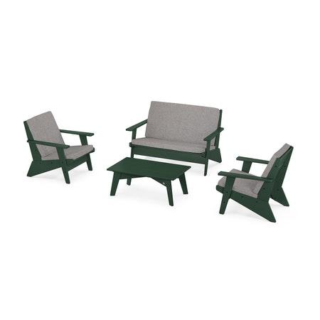 Riviera Modern Lounge 4-Piece Set in Green / Grey Mist