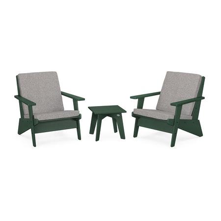 Riviera Modern Lounge 3-Piece Set in Green / Grey Mist