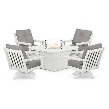 Vineyard 5-Piece Deep Seating Swivel Conversation Set with Fire Pit Table in White / Grey Mist