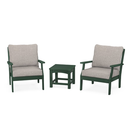 Yacht Club 3-Piece Deep Seating Set in Rainforest Canopy / Weathered Tweed