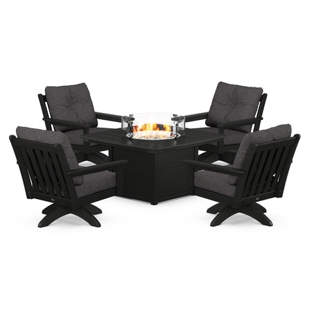 Vineyard 5-Piece Deep Seating Swivel Conversation Set with Fire Pit Table in Black / Ash Charcoal
